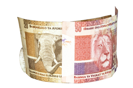 two south african bank notes with elephant and lions heads photo