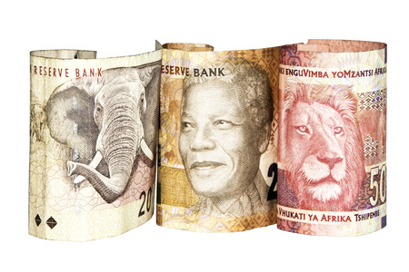 three south african bank notes showing elephant Mandela and lion Banco de Imagens