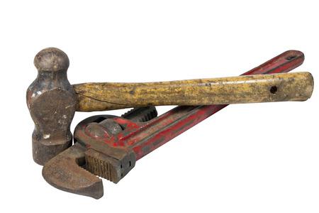 peen: rusty monkey wrench and ball peen hammer Stock Photo