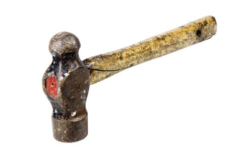 peen: well-used ball peen hammer with cracked handle Stock Photo