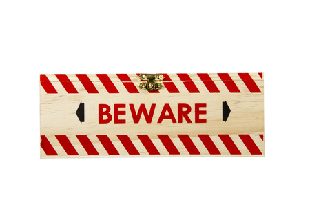 clasp: wood box with brass clasp worded beware