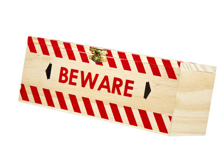 clasp: wooden box with brass clasp and word beware