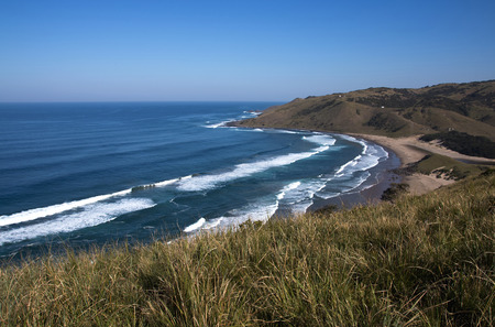 view from cliffs of wild coast beach transkei south africa