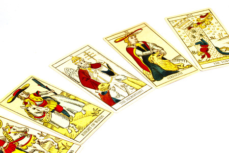 deck: five tarot cards used for fortune telling