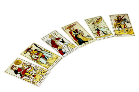 fortune: spread of six fortune telling tarot cards