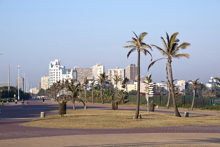 DURBAN, SOUTH AFRICA - JULY 2, 2014: Unknown people on Promenade at Beach front in Durban, South Africa Editorial