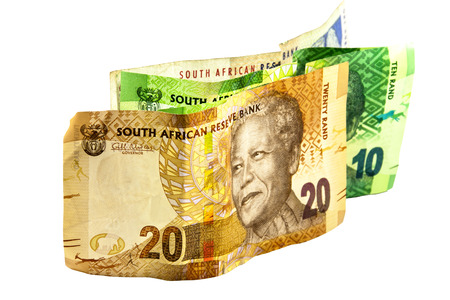 south african banknotes in denominations of 10, 20 and 100 photo