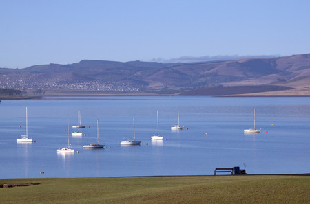 howick: Yachts at mooring on the midmar dam, Howick, South Africa