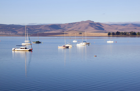 howick: Yachts moored on the midmar dam in the natal midlands, Howick, KwaZulu-Natal South Africa