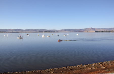howick: inflatable boat on water of midmar dam