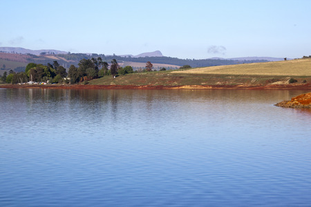 howick: Landscape view of Midmar dam and countryside at Howick in the Natal Midlands in South Africa Stock Photo