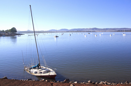 howick: Sunken aboandoned yacht in the shallows of Midmar dam near Howick in the Natal Midlands in South Africa Editorial