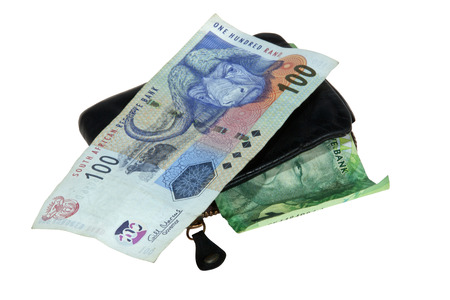 south african bank notes with leather wallet photo