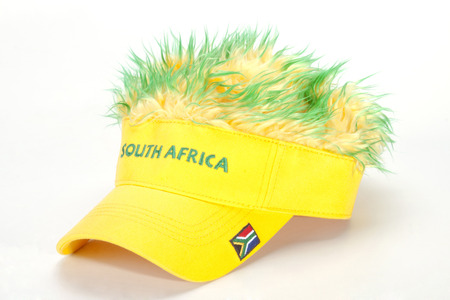 artificial hair: south african peak cap with flag and artificial hair