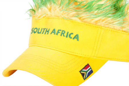 leisure wear: south african peak cap with flag and artificial hair
