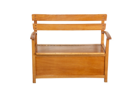 compartment: childs wooden bench with storage compartment under seat Stock Photo