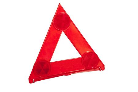 señal de transito: tres reflectores en brillante triángulo rojo