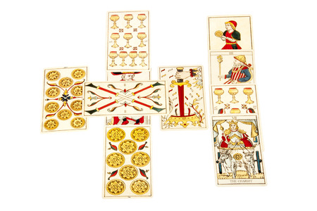 tarot cards set out in the celtic cross spread photo