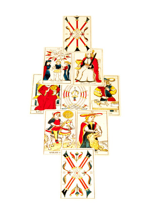 parapsychology: tarot cards set out in the mandala spread
