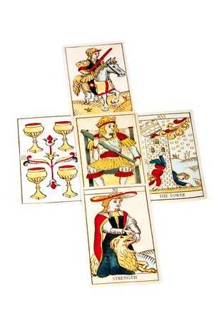 parapsychology: tarot cards set out in five spread