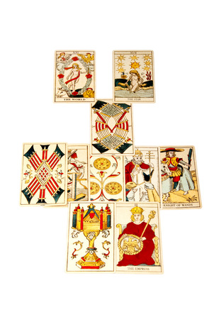 parapsychology: tarot cards set out in the relationship spread