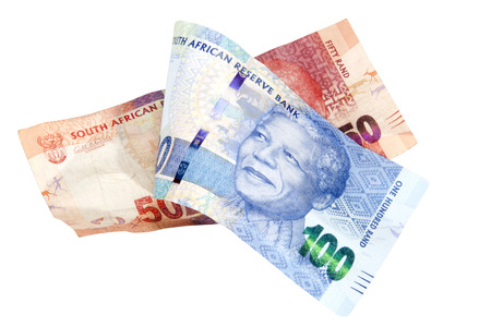 Blue and red South African Rand bank notes on white showing the face of Nelson Mandela on White