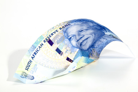 Blue South African rand bank Note on white showing the face of Nelson Mandela