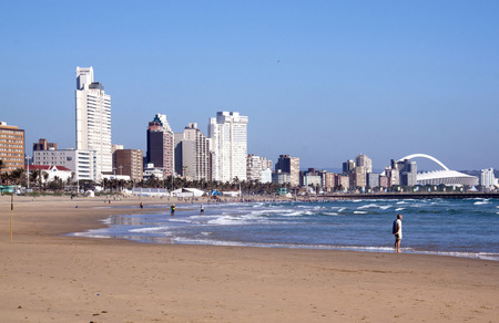 DURBAN, SOUTH AFRICA - DECEMBER 18, 2014: Many unknown people on South Beach against