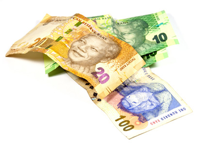south african bank notes featuring nelson mandela Stock Photo