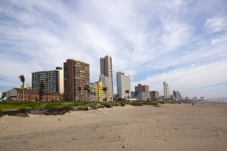beachfront: DURBAN, SOUTH AFRICA - MARCH 15, 2015: Early morning view of Golden Mile beachfront skyline in Durban, South Africa