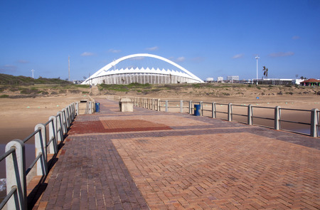 stadium  durban: DURBAN, SOUTH AFRICA - DECEMBER 4, 2014: View from pier of Moses Mabhida Stadium in Durban, South Africa