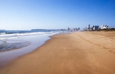 beachfront: low tide at durban beachfront with hotels in background Stock Photo