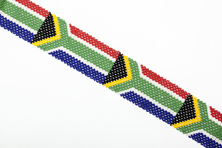 zulu: south african flag threaded from colorful zulu beadwork Stock Photo