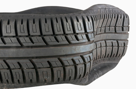 dui: isolated closeup of tread pattern on tyre after blowout