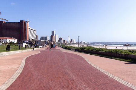 beach front: clean empty pedestrian promenade on beach front in Durban South Africa Stock Photo