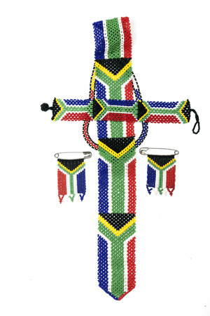 zulu: Colorful ethnic Zulu beads threaded in the colors of the south african flag