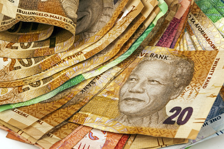 Closeup selection of used south african bank notes