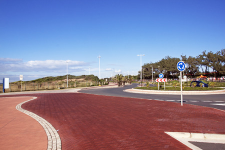 beach front: Empty paved and patterned promenade on beach front in Durban South Africa Stock Photo