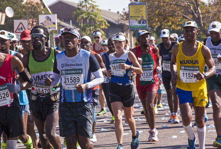 comrades: DURBAN, SOUTH AFRICA : MAY 29, 2016 : Many unknown runners compete in the annual Comrades Marathon between Pietermaritzburg and Durban in South Africa Editorial