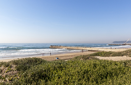 vegatation: View of dune vegetation aloes beach sea and concrete pier under construction in Durban South Africa Stock Photo