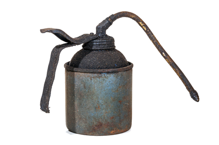 grime: Studio shot of old grungy neglected rusty  blue oil can covered in layer of dirt and grime on white Stock Photo