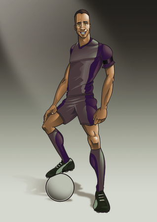 muscular male: Vintage muscular male soccer player posing with leg on football digital illustration