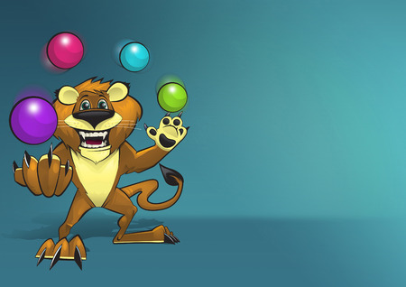 lion tail: Happy smiling lion character juggling four colorful balls on blue background illustration