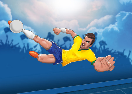 airborn: Determined football player executes air born horizontal scissors kick against  blue cloudy sky background illustration