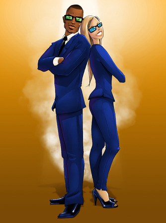 elegantly: Posing male and female elegantly dressed in blue secret agents on orange background digital illustration