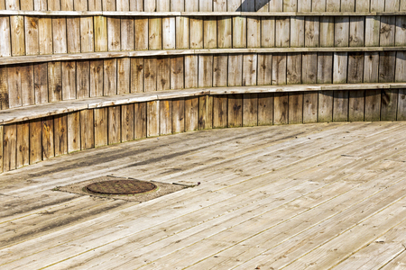 wood textures: Close up of wood patterns and textures of curved beach front viewing platform Stock Photo