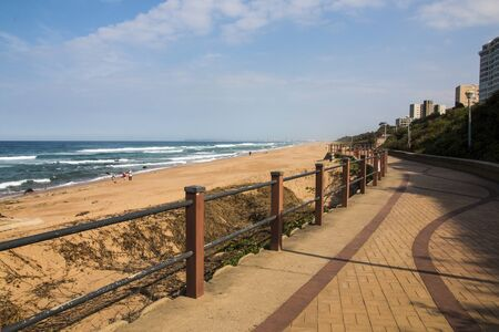 umhlanga promenade with the sea in the foreground and the hotels in the background Banco de Imagens