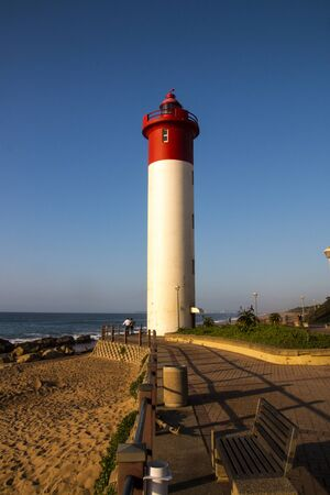 The umhlanga lighthouse and seating area as seen from the promenade