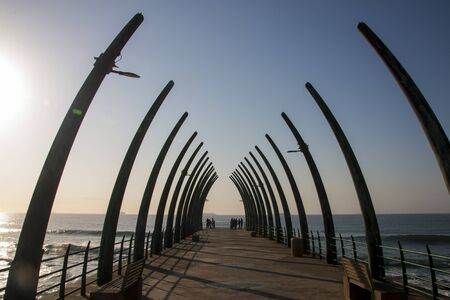 The unique pier at umhlanga structured in the form of whalebones looking out to sea