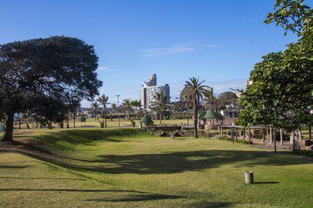 Sunken grassy area in front of hotels on durbans golden mile Imagens